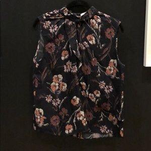 Sleeveless Derek Lam 10 Crosby print blouse.